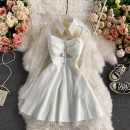 Dress Winter 2020 White, black M, L Mid length dress singleton  Long sleeves commute square neck High waist Solid color Socket A-line skirt routine Others 18-24 years old Type A Korean version Button, lace 30% and below other other