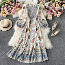 Dress Autumn 2020 Decor Average size Mid length dress singleton  Long sleeves commute stand collar High waist Decor Socket A-line skirt routine Others 18-24 years old Type A Korean version Lace up, button, print 30% and below other other