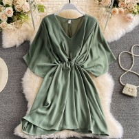 Dress Summer 2021 Green, black, blue, Fuchsia, khaki Average size Short skirt singleton  Short sleeve commute V-neck High waist Solid color Socket A-line skirt Bat sleeve Others 18-24 years old Type A Korean version Pleating, folding, stitching 30% and below other other