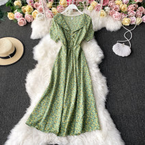 Dress Winter 2020 Light green, red, blue, black, yellow, white, sapphire, pink Average size Mid length dress singleton  Short sleeve commute V-neck High waist Decor Socket A-line skirt routine Others 18-24 years old Type A Korean version 30% and below other other