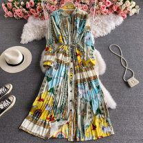 Dress Summer 2021 Black apricot, apricot green, apricot sky blue, apricot card Average size Mid length dress singleton  Long sleeves commute Crew neck High waist Decor Socket A-line skirt puff sleeve 18-24 years old Type A Korean version Strap, button 30% and below other other