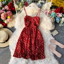 Dress Summer 2020 Red, off white, dark brown, black Average size Middle-skirt singleton  Sleeveless commute V-neck High waist Broken flowers Socket A-line skirt camisole 18-24 years old Type A Korean version Ruffles, pleats, open back, stitching, printing 30% and below other other
