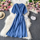 Dress Autumn 2020 Average size Mid length dress singleton  Short sleeve commute V-neck High waist Solid color Socket A-line skirt routine Others 18-24 years old Type A Korean version 30% and below other other