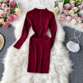 Dress Autumn 2020 Pink, dark blue, army green, black, red, light gray Average size Middle-skirt singleton  Long sleeves commute stand collar High waist Solid color Socket A-line skirt routine Others 18-24 years old Type A Korean version 30% and below other other