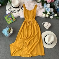 Dress Summer of 2019 Pink, apricot, yellow, red, black, blue, sky blue, khaki Average size Mid length dress singleton  Sleeveless commute V-neck High waist Solid color Socket Big swing routine camisole 18-24 years old Type A Korean version Pleating, open back, asymmetry, wave, button 30% and below