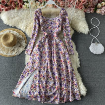 Dress Summer 2021 Purple flowers on a white background S,M,L Mid length dress singleton  Long sleeves commute square neck High waist Decor Socket A-line skirt routine Others 18-24 years old Type A Korean version fold 30% and below other other