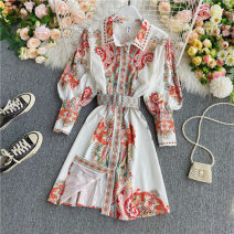 Dress Summer 2020 white M, L Middle-skirt singleton  Short sleeve commute Polo collar High waist Decor Single breasted A-line skirt puff sleeve Others 18-24 years old Type A lady Lace up, tie, button 30% and below