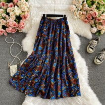skirt Summer 2021 Average size dark grey , black , Light brown , Purple on black Mid length dress commute High waist other Decor Type A 18-24 years old