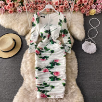 Dress Spring 2021 white M,L,XL,2XL Mid length dress singleton  Long sleeves commute square neck High waist Decor Socket One pace skirt routine Others 18-24 years old Type A Korean version 30% and below other other