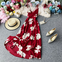 Dress Spring 2021 Red, black S, M Mid length dress singleton  Sleeveless commute V-neck High waist Decor Socket A-line skirt other camisole 18-24 years old Type A Korean version Ruffles, open back, stitching, printing 30% and below polyester fiber