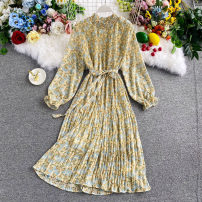 Dress Autumn 2020 Yellow, black, white, pink, orange Average size Mid length dress singleton  Long sleeves commute stand collar High waist Decor Socket A-line skirt routine Others 18-24 years old Type A Korean version 30% and below other other