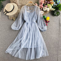 Dress Autumn 2020 White, pink, sky blue Average size Mid length dress Two piece set Long sleeves commute Crew neck High waist Solid color Socket A-line skirt routine Others 18-24 years old Type A Korean version 30% and below other other