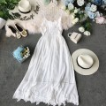 Dress Summer of 2019 white S,M,L,XL Mid length dress singleton  Sleeveless commute V-neck High waist Solid color Socket Princess Dress other camisole 18-24 years old Type A Korean version Ruffles, backless, stitching, waves, lace