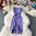 Dress Summer 2020 Black, purple, yellow, apricot Average size Mid length dress singleton  Sleeveless commute square neck High waist Solid color Socket A-line skirt routine camisole 18-24 years old Type H Korean version backless knitting