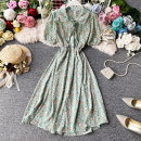 Dress Summer 2020 Blue, yellow, green Average size Mid length dress singleton  Short sleeve commute Doll Collar High waist Decor Socket A-line skirt routine Others 18-24 years old Type A Korean version Ruffles, pleats, lace up, stitching, buttons, printing 30% and below Chiffon polyester fiber