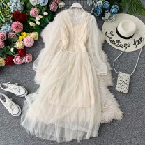 Dress Autumn of 2019 Average size Mid length dress Two piece set Long sleeves commute V-neck High waist Solid color Socket A-line skirt bishop sleeve Others 18-24 years old Type A Korean version 31% (inclusive) - 50% (inclusive)