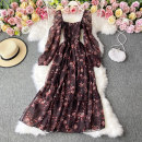 Dress Winter 2020 Maroon S,M,L Mid length dress singleton  Long sleeves commute square neck High waist Decor Socket A-line skirt routine Others 18-24 years old Type A Korean version 30% and below other other