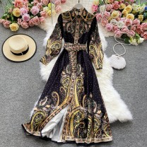 Dress Winter 2020 White, black M,L,XL,2XL Mid length dress singleton  Long sleeves commute Polo collar High waist Decor Socket A-line skirt routine Others 18-24 years old Type A Korean version 30% and below other other