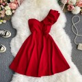 Dress Winter 2020 Red, black, white, pink M, L Mid length dress singleton  Long sleeves commute Slant collar High waist Solid color Socket A-line skirt routine Others 18-24 years old Type A Korean version 30% and below other other