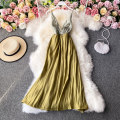 Dress Winter 2020 green S,M,L,XL Mid length dress singleton  Long sleeves commute V-neck High waist Solid color Socket A-line skirt routine Others 18-24 years old Type A Korean version 30% and below other other
