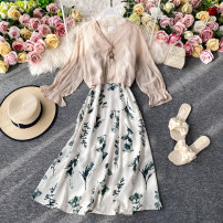 Dress Summer 2020 Green flowers on a white background S,M,L Mid length dress Two piece set Long sleeves commute V-neck High waist Decor Socket A-line skirt routine Others 18-24 years old Type A Korean version 30% and below other other