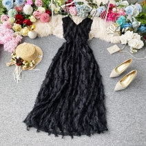 Dress Summer 2020 black S,M,L Mid length dress singleton  Sleeveless commute V-neck High waist Solid color Socket A-line skirt routine camisole 18-24 years old Type A Korean version