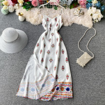 Dress Summer 2020 white S,M,L,XL Mid length dress singleton  Sleeveless commute V-neck High waist Decor Socket A-line skirt routine camisole 18-24 years old Type A Korean version Pleated, backless, printed