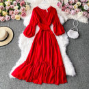 Dress Autumn 2020 gules S,M,L Mid length dress singleton  Long sleeves commute V-neck High waist Solid color Socket A-line skirt routine Others 18-24 years old Type A Korean version 30% and below other other