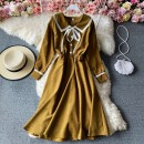 Dress Winter 2020 Lemon yellow , grey , red , black , Light orange Average size Mid length dress singleton  Long sleeves commute Polo collar High waist Solid color Socket A-line skirt routine Others 18-24 years old Type A Korean version Frenulum 30% and below other other