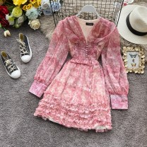 Dress Spring 2020 Pink, light green S,M,L Mid length dress singleton  Long sleeves commute V-neck High waist Decor Socket A-line skirt bishop sleeve Others 18-24 years old Type A Korean version Ruffles, folds, stitches, waves, buttons, prints 31% (inclusive) - 50% (inclusive) other other