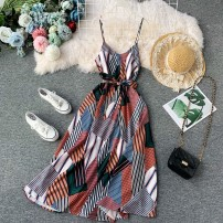 Dress Summer of 2019 Picture color S,M,L,XL Mid length dress singleton  Sleeveless commute V-neck High waist Decor Socket Big swing routine camisole 18-24 years old Type A Korean version Ruffle, pleated, open back, pleated, stitched, asymmetrical, wavy, printed 31% (inclusive) - 50% (inclusive)