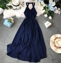 Dress Summer of 2019 Blue, red S,M,L,XL Mid length dress singleton  Sleeveless commute V-neck High waist Solid color Socket Big swing other Hanging neck style 18-24 years old Type A Korean version Ruffle, open back, fold, splice, asymmetry, strap, wave Chiffon