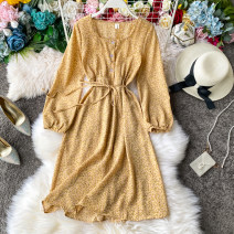 Dress Spring 2020 Average size Mid length dress singleton  Long sleeves commute square neck High waist Broken flowers Single breasted A-line skirt other Others 18-24 years old Type A Korean version Lace up, stitching, printing 31% (inclusive) - 50% (inclusive) other other