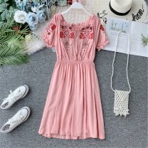 Dress Autumn of 2019 White, light blue, yellow, red, black, pink Average size Mid length dress singleton  Short sleeve commute One word collar High waist Solid color Socket A-line skirt puff sleeve Others 18-24 years old Type A Korean version 31% (inclusive) - 50% (inclusive) other other