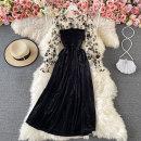 Dress Summer 2021 Black, apricot Average size Mid length dress singleton  Long sleeves commute Crew neck High waist Decor Socket other puff sleeve 18-24 years old Type A Korean version Pleating, open back, pleating, stitching 30% and below other other