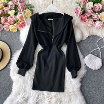 Dress Autumn 2020 Black, chocolate M, L Mid length dress singleton  Long sleeves commute V-neck High waist Solid color Socket A-line skirt routine Others 18-24 years old Type A Korean version 30% and below other other