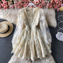 Dress Spring 2021 Apricot S,M,L Middle-skirt singleton  Long sleeves commute square neck High waist Solid color Socket A-line skirt puff sleeve 18-24 years old Type A Korean version Stitching, buttons, lace 30% and below other other