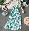 Dress Summer of 2019 white S,M,L,XL Mid length dress singleton  Sleeveless commute V-neck High waist Broken flowers Socket Big swing other camisole 18-24 years old Type A Korean version