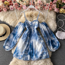 Dress Spring 2021 blue M,L,XL,2XL Middle-skirt singleton  Long sleeves commute One word collar High waist Solid color Socket Princess Dress bishop sleeve camisole 18-24 years old Type A Korean version Ruffles, pleats, open back, print 30% and below other other