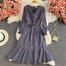 Dress Summer 2021 Average size Mid length dress singleton  Long sleeves commute V-neck High waist Broken flowers Socket A-line skirt puff sleeve 18-24 years old Type A Korean version Fold, lace up 30% and below other other