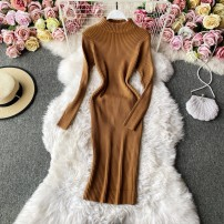 Dress Winter 2020 Camel, black, blue, gray, red, white, apricot, green Average size Mid length dress singleton  Long sleeves commute Crew neck High waist Solid color Socket A-line skirt routine Others 18-24 years old Type A Korean version 30% and below other other