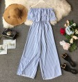 Casual pants Blue bar S,M,L Summer of 2019 trousers Jumpsuit High waist commute routine 18-24 years old 31% (inclusive) - 50% (inclusive) Korean version Lotus leaf edge Asymmetry