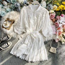 Dress Summer 2020 white Average size Middle-skirt singleton  elbow sleeve commute Crew neck High waist Solid color Single breasted A-line skirt puff sleeve Others 18-24 years old Korean version Embroidery, pleating 30% and below other other