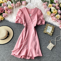 Dress Summer 2020 Average size Mid length dress singleton  Short sleeve commute V-neck High waist Solid color Socket A-line skirt other Others 18-24 years old Type A Korean version 30% and below other other