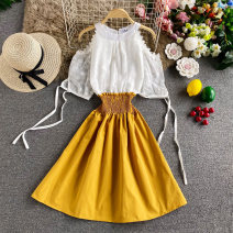 Dress Autumn 2020 Yellow, chocolate, red, light brown, light green Average size Mid length dress singleton  Sleeveless commute Crew neck High waist Solid color Socket A-line skirt routine Others 18-24 years old Type A Korean version 30% and below other other