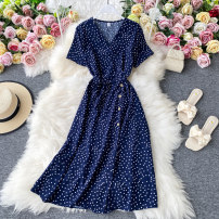 Dress Summer 2020 Yellow, red, apricot, rose, dark green, blue, black, light brown, dark blue Average size Mid length dress singleton  Short sleeve commute V-neck High waist Dot Socket A-line skirt routine Others 18-24 years old Type A Korean version 30% and below other other
