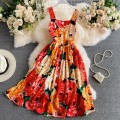 Dress Summer 2021 Orange S,M,L,XL,2XL Mid length dress singleton  Sleeveless commute One word collar High waist Decor zipper A-line skirt routine camisole 18-24 years old Type A Korean version Ruffle, pleat, fold, stitching, asymmetry, zipper, printing 30% and below other other