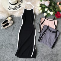 Dress Summer of 2019 Black, gray, pink, apricot Average size Mid length dress singleton  Sleeveless commute Crew neck High waist Solid color Socket One pace skirt other camisole 18-24 years old Type X Korean version Open back, stitching knitting