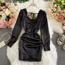 Dress Spring 2021 Black, silver M, L Middle-skirt singleton  Long sleeves commute V-neck High waist Solid color Socket A-line skirt routine Others 18-24 years old Type A Korean version Frenulum 30% and below other other