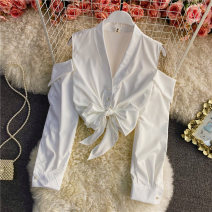 shirt Black, white Average size Summer 2021 other 30% and below Long sleeves commute Short style (40cm < length ≤ 50cm) V-neck Single row multi button bishop sleeve Solid color 18-24 years old Self cultivation Bows, ties, buttons